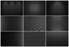 Set of steel grids with round holes. And reflections on black background in different views Stock Photo