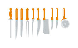 Set of steel kitchen knifes carving, paring, and utility sharp tool cooking equipment collection vector illustration. Royalty Free Stock Images