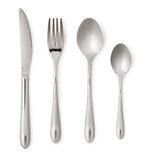 Set of steel metal table cutlery Royalty Free Stock Photos