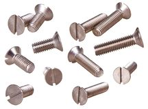 Set of steel screws isolated on white background. stock photo