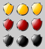 Set of steel shields Stock Images