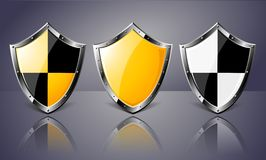 Set of Steel Shields over dark background. Vector EPS10. Transparency is used to create shadows Stock Photography