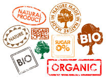 Set Stempel für biologisches Lebensmittel Lizenzfreie Stockfotografie