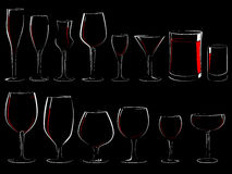 Set of  stemware in the dark. Stock Photos
