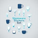 Set of stemware icon stickers Royalty Free Stock Photos