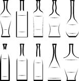 Set of stencil of bottles Stock Photos