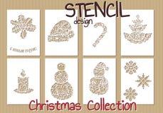 Set of Stencil design templates. Christmas Stock Photos