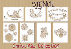 Set of Stencil design templates. Christmas Royalty Free Stock Images
