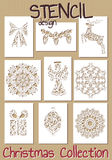 Set of Stencil design templates. Christmas Royalty Free Stock Photo