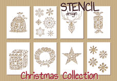 Set of Stencil design templates. Christmas Royalty Free Stock Photos