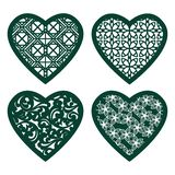 Set stencil lacy hearts with carved openwork pattern. Template for interior design, layouts wedding cards, invitations, etc. Image royalty free illustration