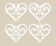 Set stencil lacy hearts with openwork pattern Stock Images