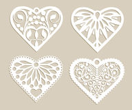Set stencil lacy hearts with openwork pattern Royalty Free Stock Photos