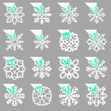 Set of stencil ornaments for hand made snowflake Royalty Free Stock Photos
