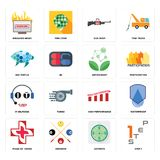 Set of step 1, estimate, image  cross, high performance, it helpdesk, antioxidant, sea turtle, gun shop, breaking news icons. Set Of 16 simple  icons such as Royalty Free Stock Photography