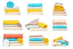Set sterta ręczniki odizolowywający na białym odosobnionym tle zdjęcia royalty free