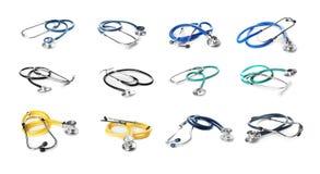 Set with stethoscopes on white background. Medical objects stock images