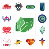 Set of stevia, travel, volunteer fire department, gryphon, booty, rams, lifetime warranty, copyright free, wn icons. Set Of 13 simple  icons such as stevia Stock Photo