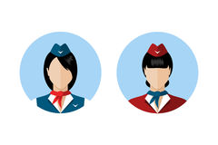 Set stewardes avatars Obraz Royalty Free