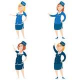 Set of Stewardess Royalty Free Stock Photography