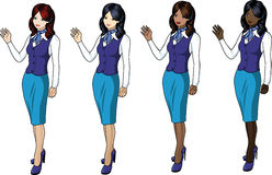 Set of 4 stewardesses in blue Royalty Free Stock Image