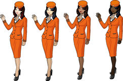 Set of stewardesses in orange Royalty Free Stock Images