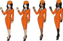 Set of stewardesses in orange Royalty Free Stock Images