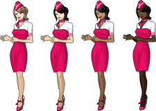 Set of 4 stewardesses in pink Royalty Free Stock Photos