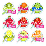 Set Sticers Smoothie with Ribbon and Freshes Royalty Free Stock Images