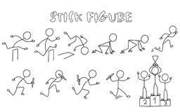 Set of stick figure athletics. Simple drawing running people pictures.Sport vector illustration Stock Photos