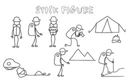 Set of stick figure backpackers royalty free illustration