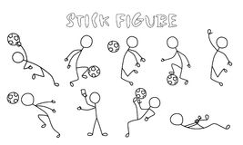 Set stick figure of football players. Simple sportsman black pictogram in action Stock Photos
