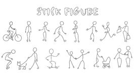 Set stick figure people action. Set of stick figure people. Simple men and women black pictogram. People action Stock Images