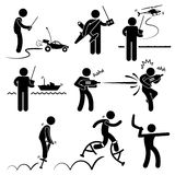 People Playing Remote Outdoor Toys Pictogram. A set of stick figure people pictograms representing people playing with their outdoor toys Royalty Free Stock Image