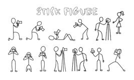 Set stick figure photographer. Simple professional cameraman black pictogram Royalty Free Stock Image