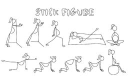 Set of stick figure pregnant women. Simple drawing people pictures.Sport vector illustration Royalty Free Stock Images
