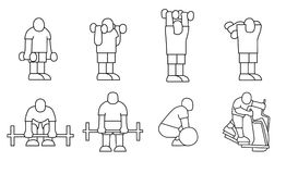 Set of stick figure sportsman. With gym and fitness exercise Stock Images