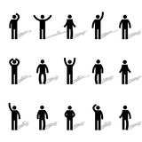 Set of stick figures, vector illustration. Set of stick figures, black mens silhouettes on a white background in various poses and positions. Icons people Royalty Free Stock Photo
