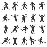 Set stick figures of football players, vector illustration. Set of stick figures. Black silhouettes of football players on a white background in various poses Royalty Free Stock Images