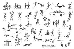 Set of stick figures in motions. Large set of simple stick human and pets figures. People in motion. Big group of hand drawn people  on white background. Doodle Royalty Free Stock Photo