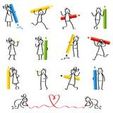 Set of stick figures, stick people writing, holding pencils and crayons, men and women smiling and laughing. Isolated on white background vector illustration