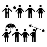 A set of stick figures, vector illustration. Stock Images