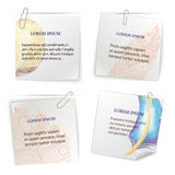 Set of stick notes with doodle feather pattern Stock Image