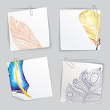 Set of stick notes with light doodle feathers Stock Image