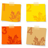 Set of stick notes papers, autumn design,  Stock Images