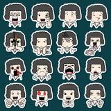 Set of sticker cartoon character Stock Photography