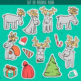 Set sticker deer doodle, different poses for design. Deer standing Royalty Free Stock Photography