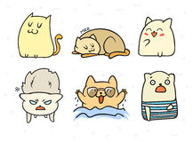 Set of 6 sticker doodle cats with different emotions. Stock Image