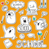Set sticker doodle characters and school supplies Royalty Free Stock Photo