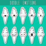 Set of 10 sticker doodle ice cream with emotions. Dessert Stock Photos